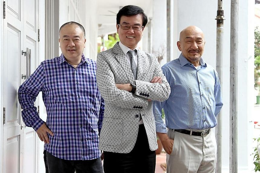 From far left: Clifton Ko, Raymond Wong and Karl Maka have produced, directed and acted in hits, such as the Happy Ghost comedy films in the 1980s and 1990s, and the popular All's Well, Ends Well comedy flicks.