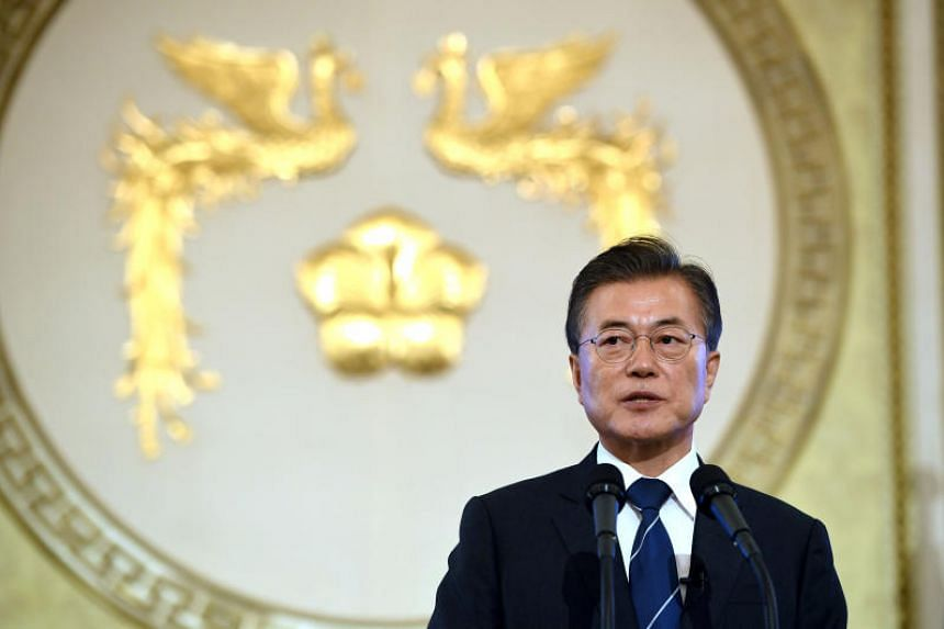 South Korean President Moon Jae In meets leaders of ruling and opposition parties on Wednesday, Sept 27, 2017 to discuss North Korea.