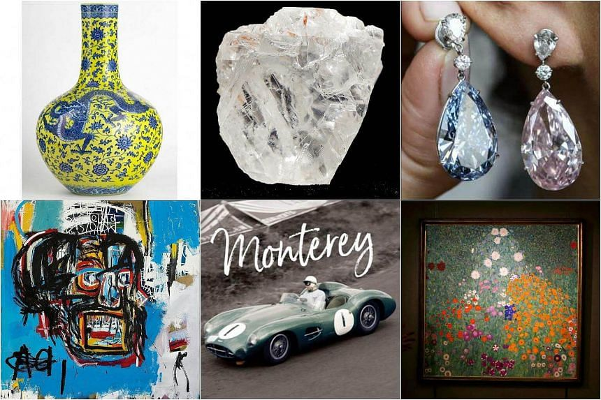 (Clockwise from top left) A Chinese vase, the world's largest uncut diamond, US$57.4 million diamond earings, a Gustav Klimt painting at £48 million, the most expensive British car and the most expensive artwork at S$152.9 million.