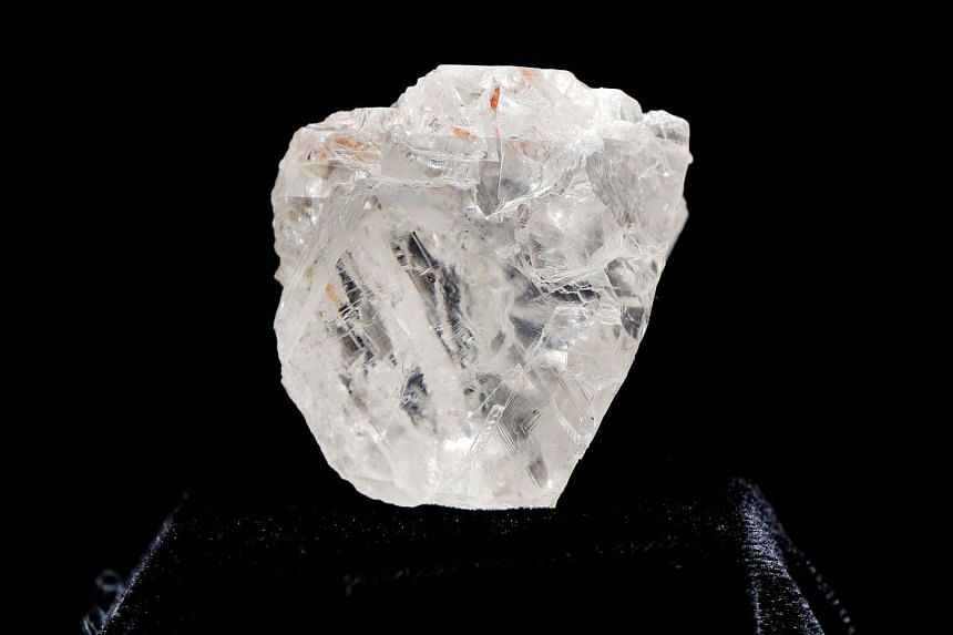 The 1109 carat Lesedi La Rona diamond is displayed in a case at Sotheby's in the Manhattan borough of New York.