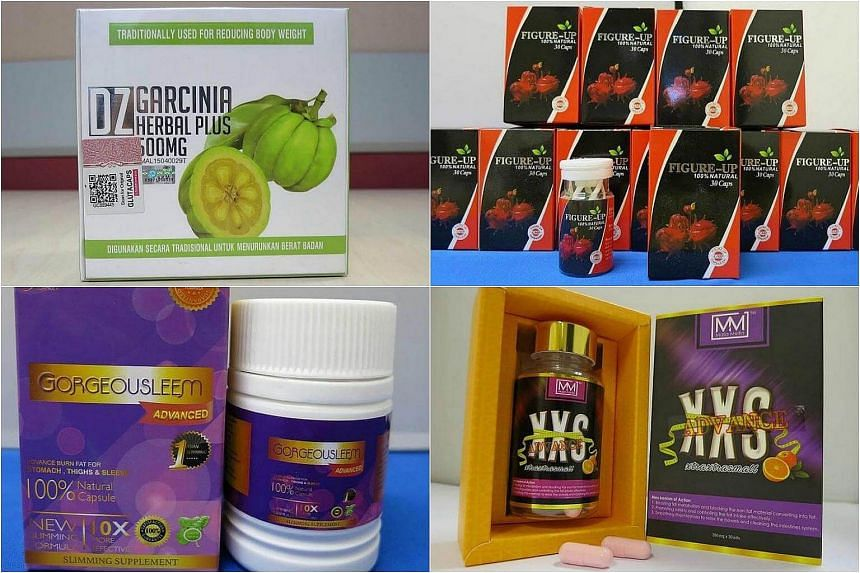 (Clockwise from top left) DZ Garcinia Herbal Plus, Figure-Up Slimming Pill, XXS Advance and Gorgeousleem Advanced Capsule were among the weight loss products seized and tested. Nine in 10 of them contained a banned substance called sibutramine, inclu