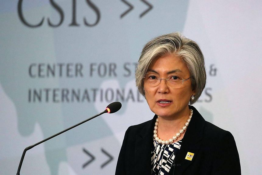 South Korea's Foreign Minister Kang Kyung Wha speaks about the current situation on the Korean Peninsula, at the Center for Strategic and International Studies in Washington, on Sept 25, 2017.