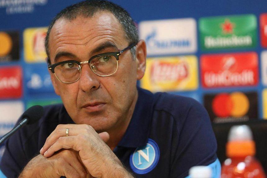 SSC Napoli's head coach Maurizio Sarri attends a press conference in Castel Volturno, Italy, on Sept 25, 2017.