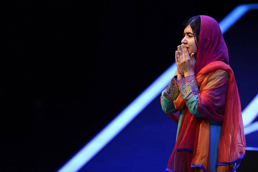 Pakistani Nobel Peace Prize 2014 laureate Malala Yousafzai is pictured during a meeting with students of the Telmex-Telcel Foundation at the National Auditorium in Mexico City.