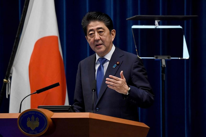 Japan's Prime Minister Shinzo Abe gestures as he speaks during a press conference at his official residence in Tokyo, on Sept 25, 2017.