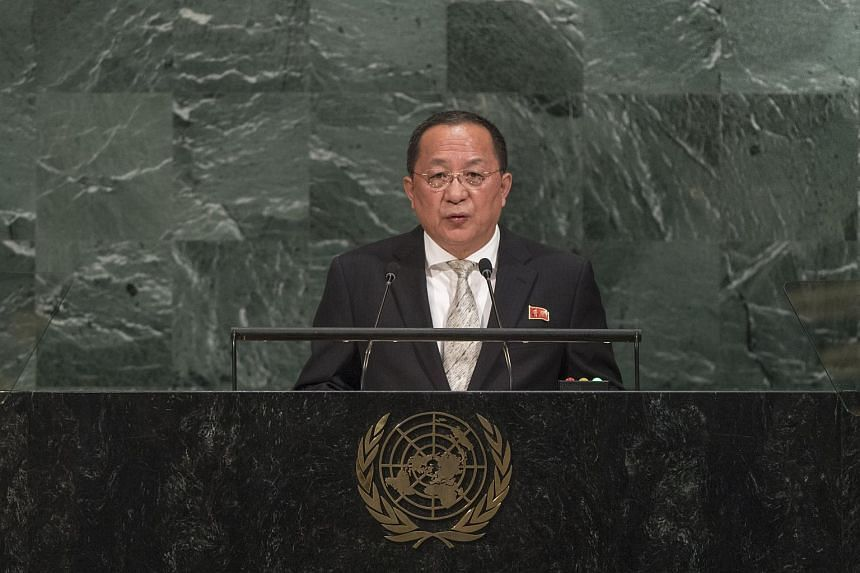North Korean Minister for Foreign Affairs Ri Yong Ho speaking during the General Debate of the 72nd United Nations General Assembly at UN headquarters in New York, on Sept 23, 2017.