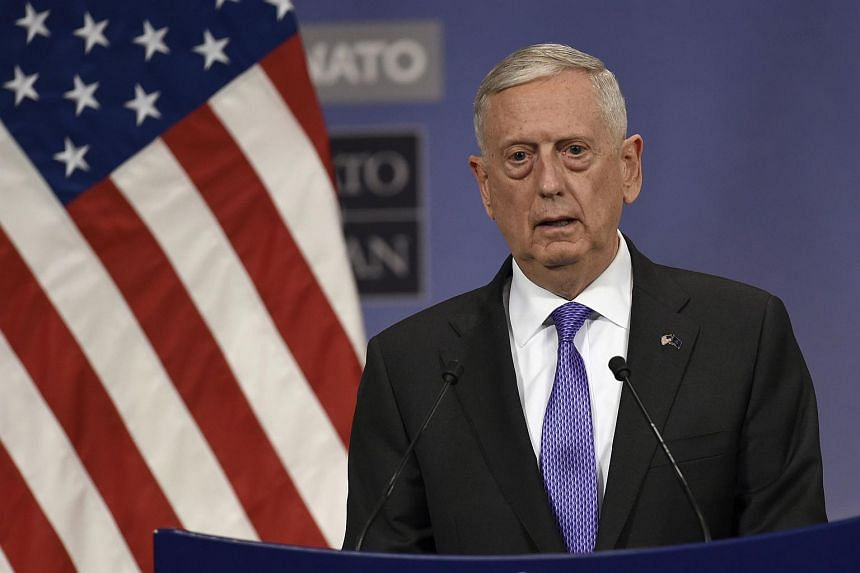 US defence minister James Mattis delivers a speech during a press conference at the Nato Defense Council meeting at the Nato Headquarters in Brussels, on June 29, 2017.