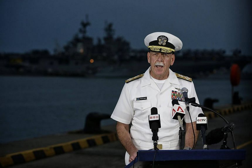 US Pacific Fleet commander Admiral Scott Swift addressing the situation with the USS John S McCain in Changi Naval Base on Aug 22, 2017.