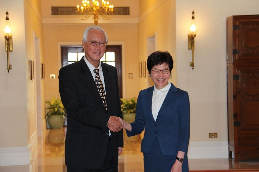 ESM Goh Chok Tong was hosted to lunch on Tuesday (Sept 26) by Hong Kong Chief Executive Carrie Lam at Government House during his three-day visit to the city.