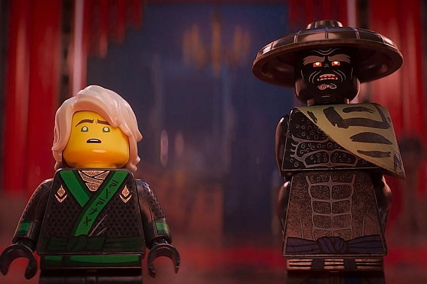 Garmadon (far right, voiced by Justin Theroux) tries to take over the island city of Ninjago, but is thwarted by a group of ninjas led by his son, Lloyd (voiced by Dave Franco).