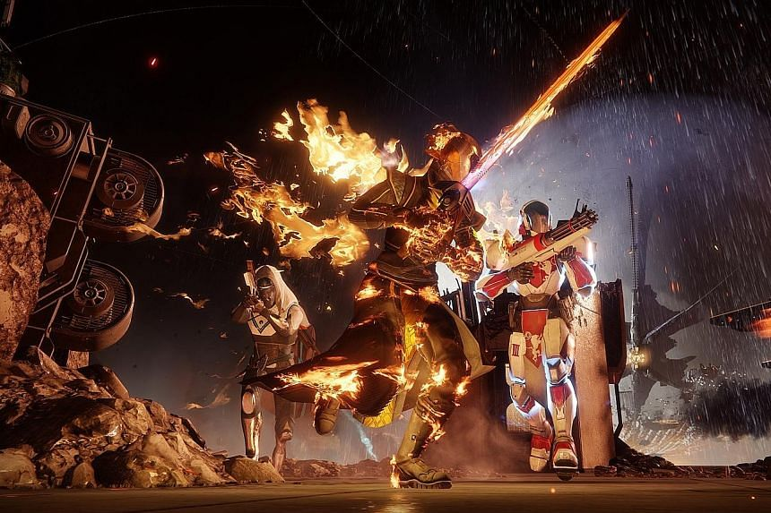 Play as a Hunter, a Warlock and a Titan in the science-fantasy video game Destiny 2.