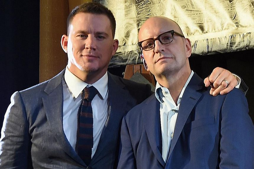 Steven Soderbergh (right, with actor Channing Tatum) produced and marketed independent film caper Logan Lucky.