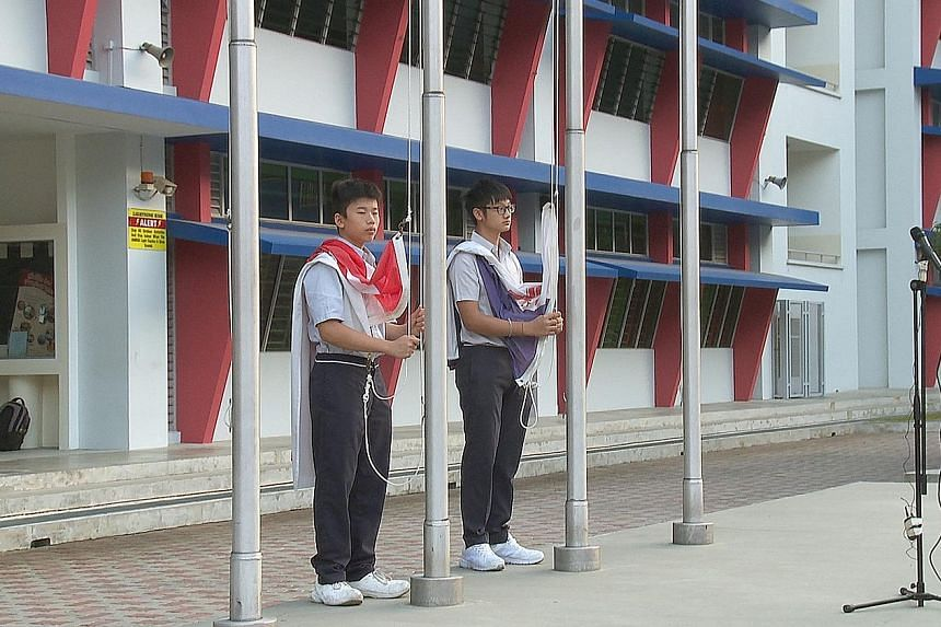 In Time To Come shows everyday scenes such as students raising the national and school flags at assembly.