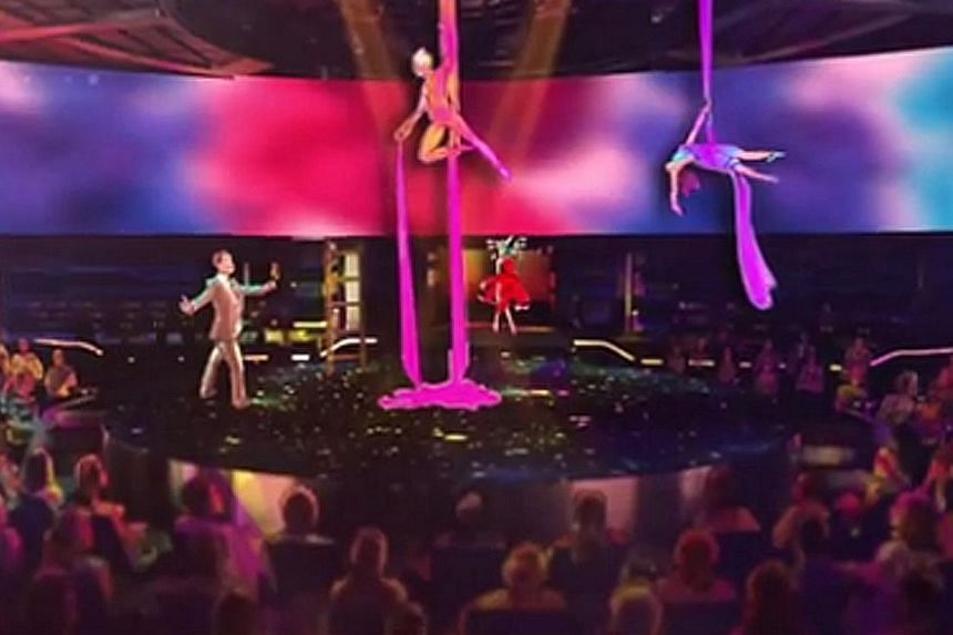 The new 4,500-passenger MSC Meraviglia cruise ship boasts a Cirque du Soleil show complete with airborne acrobats, as seen in this artist's impression.