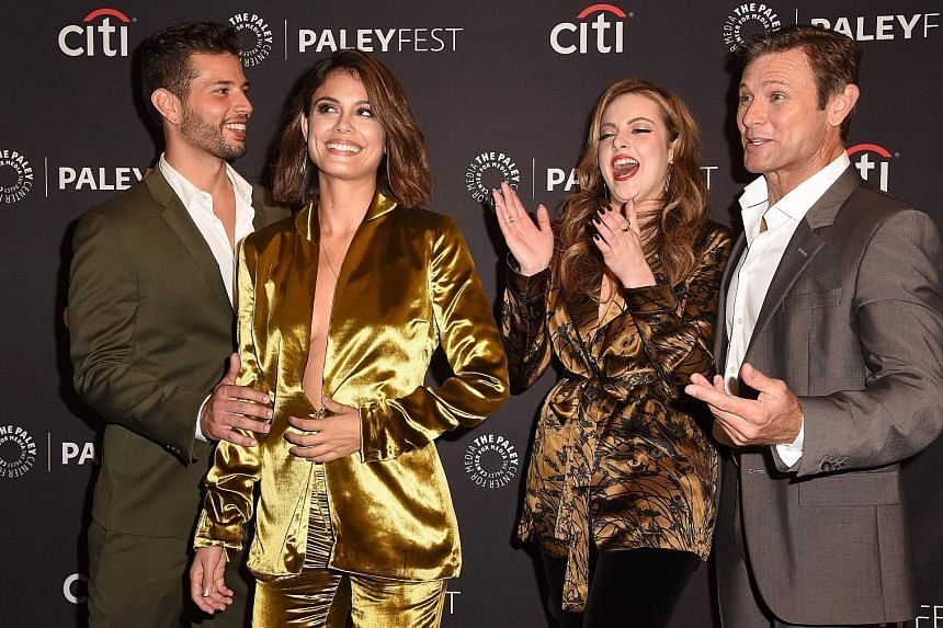 Dynasty cast members (from left) Rafael de la Fuente, Nathalie Kelley, Elizabeth Gillies and Grant Show attending the 11th annual PaleyFest Fall TV Previews for Dynasty at the Paley Center for Media in Beverly Hills, California, earlier this month.
