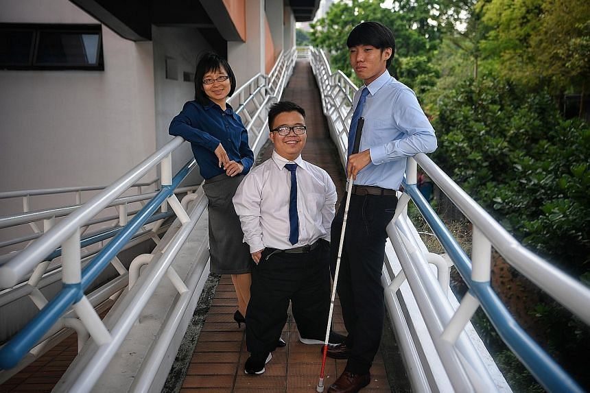 (From left) Ms Kristina Liu, Mr Lee Ci En and Mr Joshua Tseng received this year's Asia Pacific Breweries Foundation Scholarship for Persons with Disabilities. All three are enrolled in local universities, with Ms Liu doing a course in linguistics, M