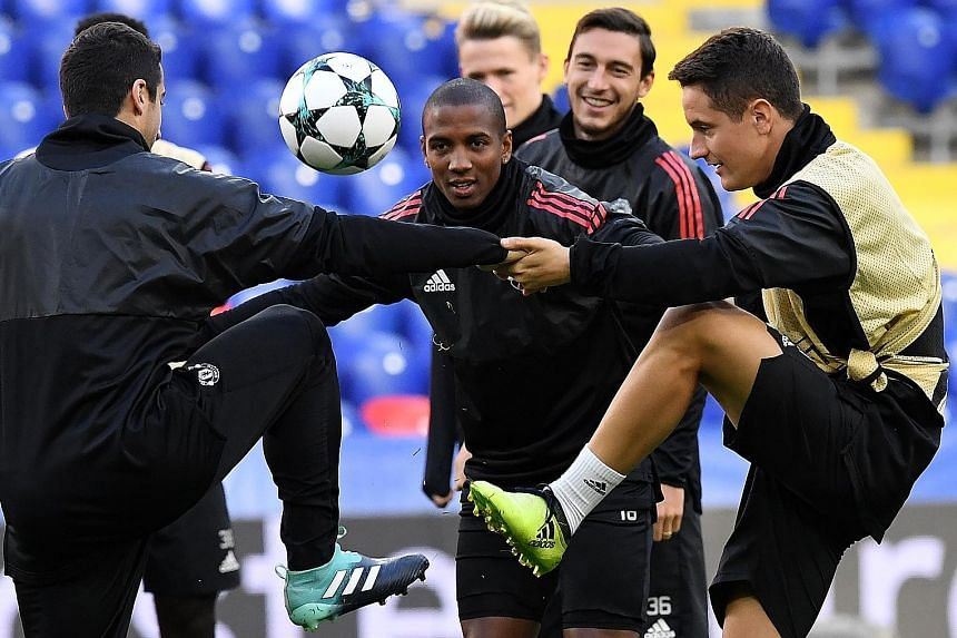 From left: Manchester United's Henrikh Mkhitaryan, Ashley Young, Matteo Darmian and Ander Herrera training in Moscow ahead of their Champions League Group A match against CSKA Moscow today. The Red Devils have never lost to their Russian opponents.