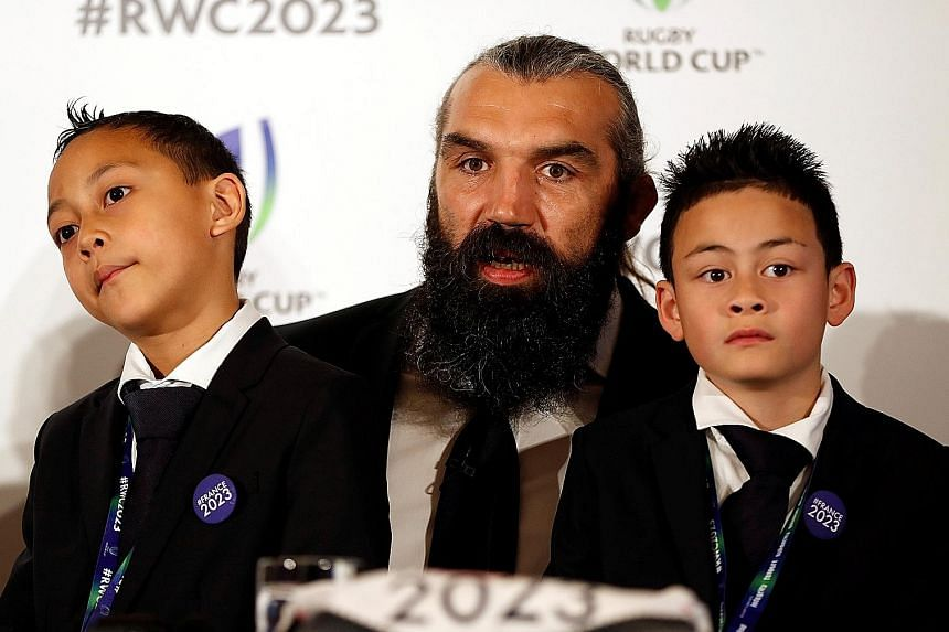 France's 2023 Rugby World Cup bid ambassador Sebastien Chabal with Jonah Lomu's children, Brayley (left) and Dhyreille at a press conference in London on Monday to garner support for the quadrennial event.