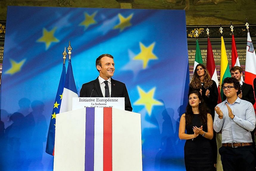 French President Emmanuel Macron delivering a speech at the Sorbonne in Paris, France, yesterday to set out plans for reforming the European Union.