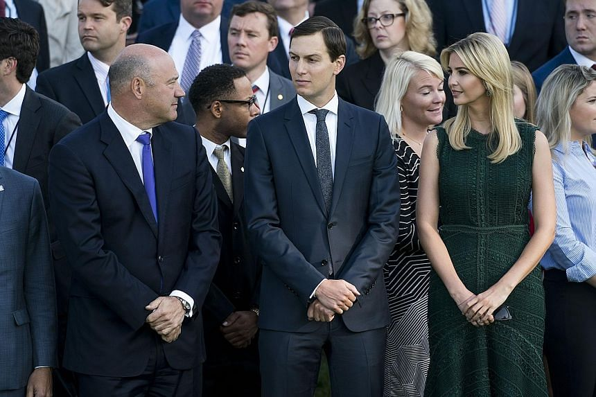 (From left) President Donald Trump's top economic adviser, Mr Gary Cohn, son-in-law Jared Kushner and daughter Ivanka Trump have used private e-mail accounts for work-related matters.