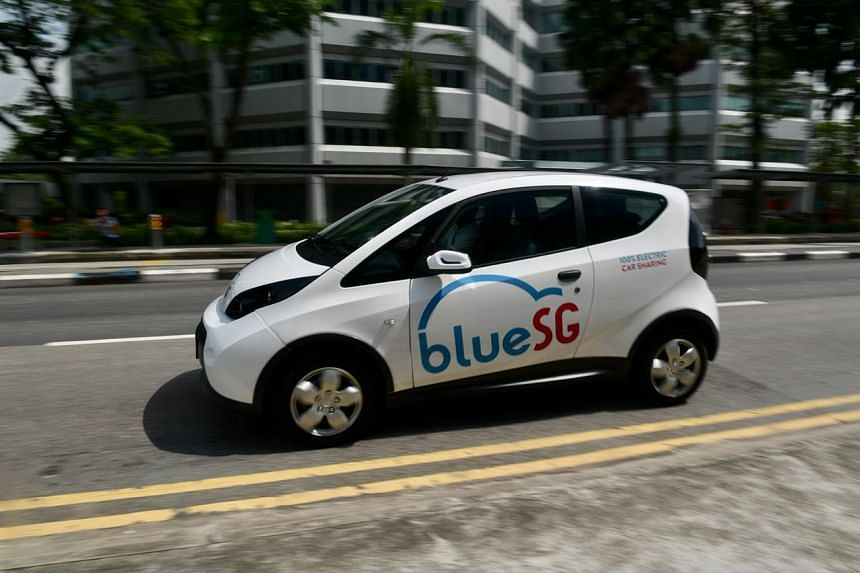 A BlueSG electric car in Science Park Drive on Sept 27, 2017.