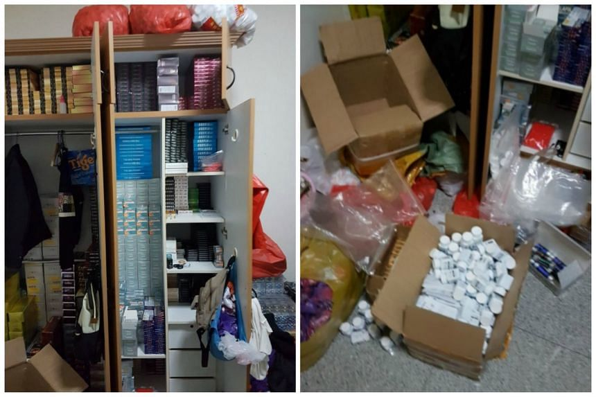 Large amount of illegal drugs kept in cupboards (left) and stocks of illegal SEDs in boxes and bags.