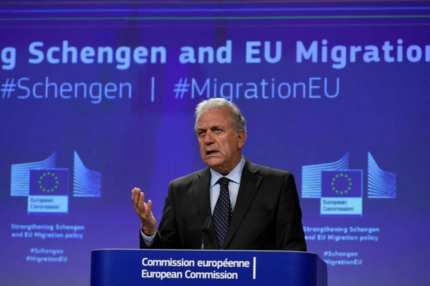 Commissioner for Migration, Home Affairs and Citizenship Dimitris Avramopoulos gives a press conference at the EU Headquarters in Brussels, on Sept 27, 2017.