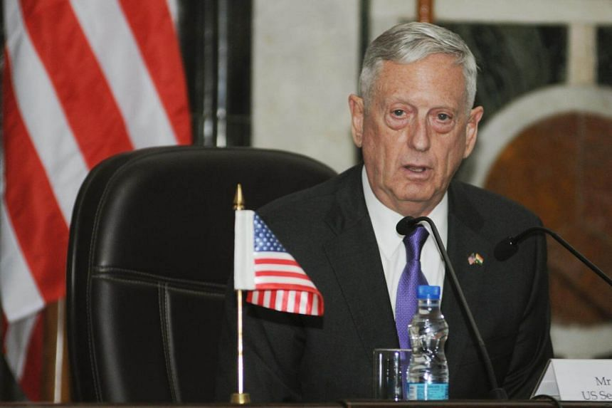 US Secretary of Defense James Mattis during a joint news conference with Indian Defense Minister Nirmala Sitharaman in New Delhi, India.