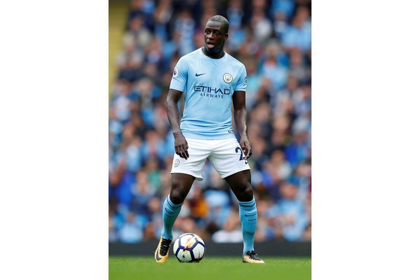 Manchester City's Benjamin Mendy during the Premiere League at the Etihad Stadium in Manchester, Britain, on Sept 23, 2017.