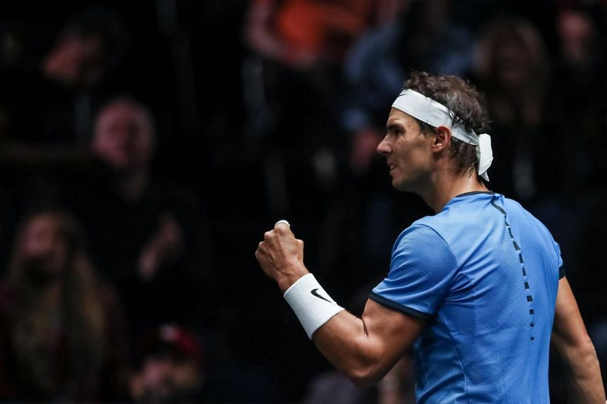 Spanish Rafael Nadal during his match against US John Isner at the Laver Cup tennis tournament in Prague, Czech Republic on Sept 24, 2017.