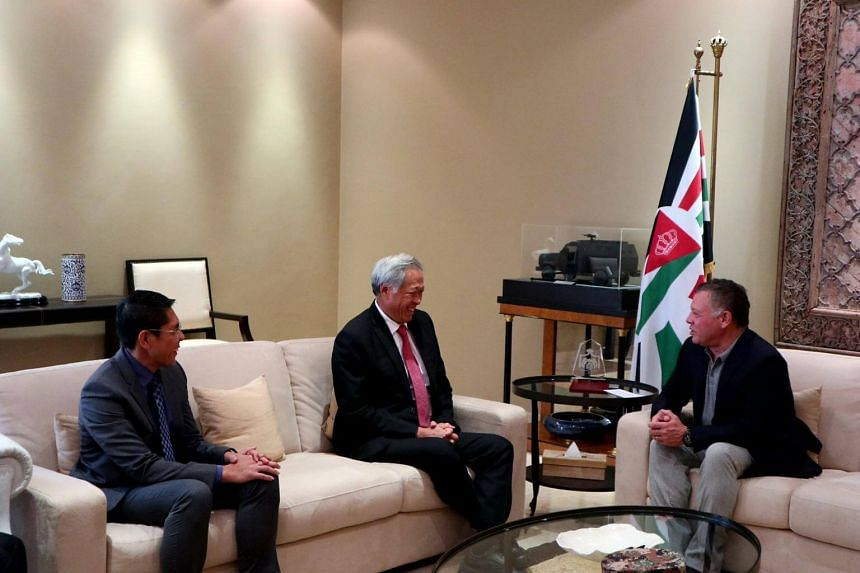Minister for Defence Dr Ng Eng Hen (centre) and Senior Minister of State for Defence Dr Mohamad Maliki Bin Osman (left) calling on King of Jordan His Majesty Abdullah II Bin Al-Hussein.