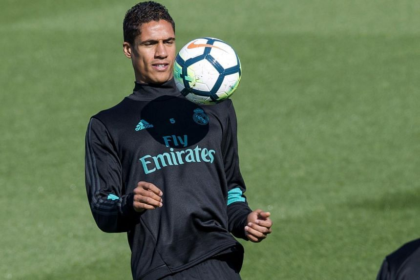 Real Madrid's French defender Raphael Varane during a training session at the team's Valdebebas sports facilities in Madrid, Spain, on Sept 19, 2017.