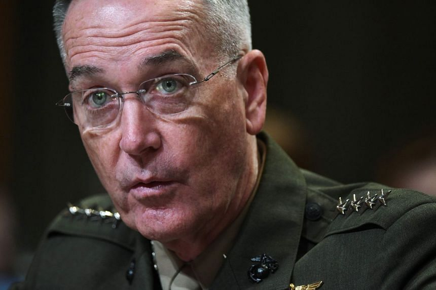 Dunford's (above) assessment was in contrast to a South Korean lawmaker who said Pyongyang had boosted defences on its east coast.