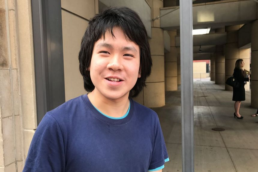Amos Yee, 18, standing outside the United Sates Citizenship and Immigration Services offices after his release from detention in Chicago, Illinois, US, on Sept 26, 2017.