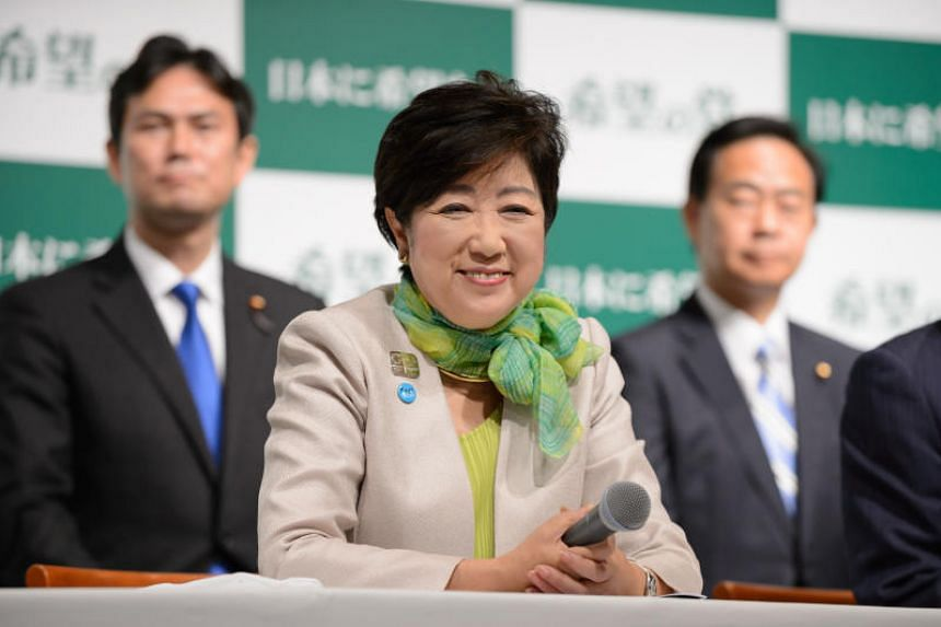 Yuriko Koike, governor of Tokyo and head of the Party of Hope, during a news conference in Tokyo, Japan, on Wednesday (Sept 27).