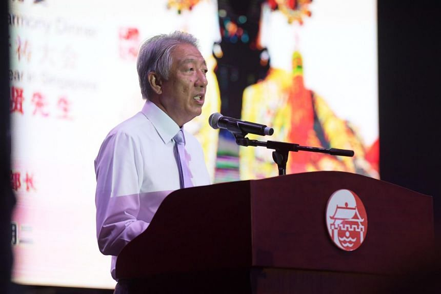 DPM Teo Chee Hean addressing the crowd at Lorong Koo Chye Sheng Hong Temple's 100th anniversary celebration, on Sept 26, 2017.
