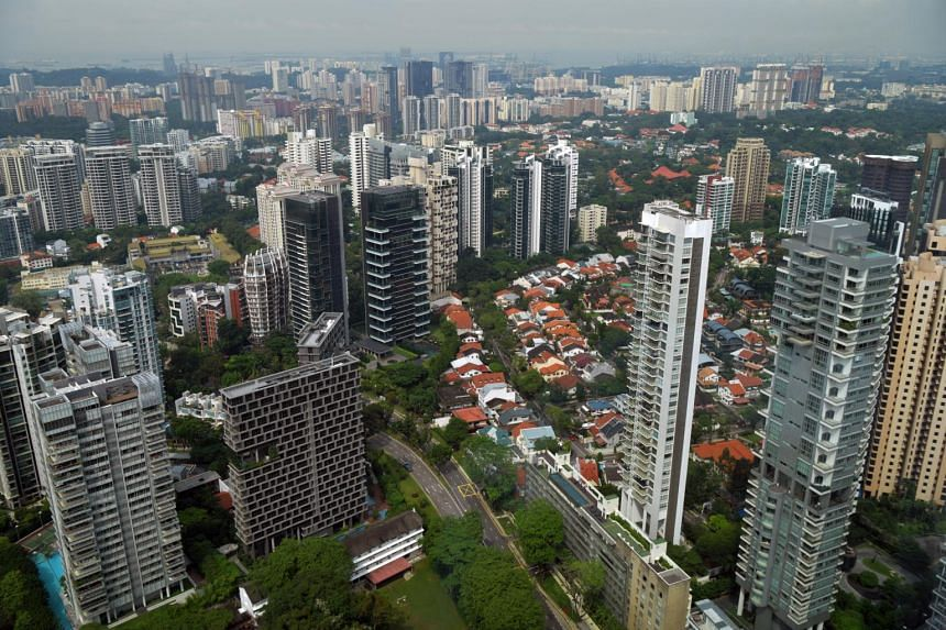 The Singapore skyline with private and public housing in the central and southern part of Singapore.