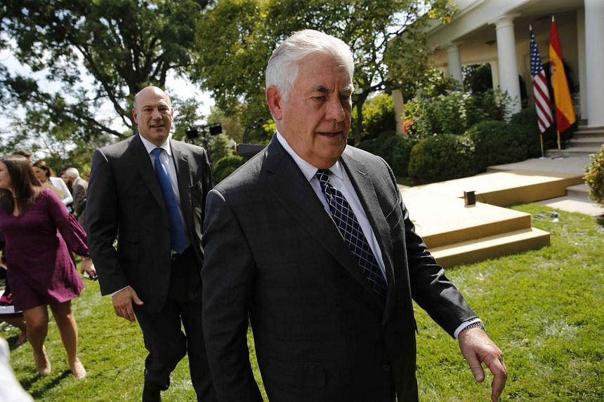 Secretary of State Rex Tillerson departs a joint news conference in the Rose Garden at the White House in Washington DC.