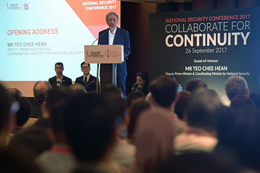 DPM Teo Chee Hean speaking at the National Security Conference 2017.