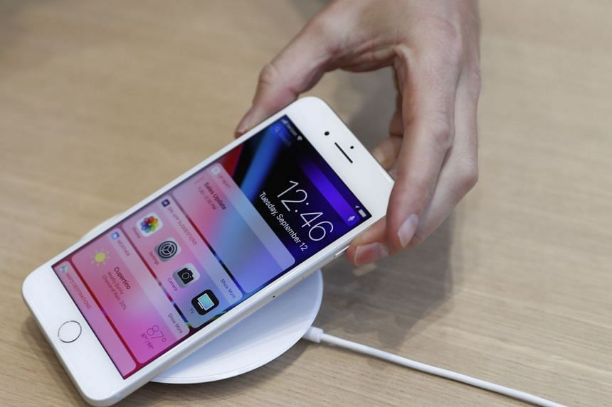 An AirPower wireless charger is displayed during an Apple launch event in Cupertino, California, US, on Sept 12, 2017.