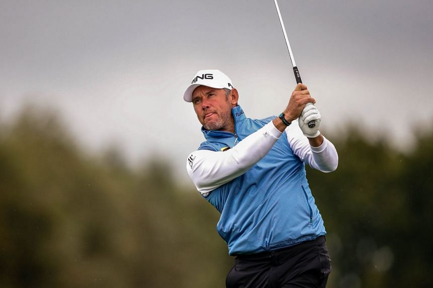 Westwood in action during the third day of the KLM Open golf tournament in the Netherlands.