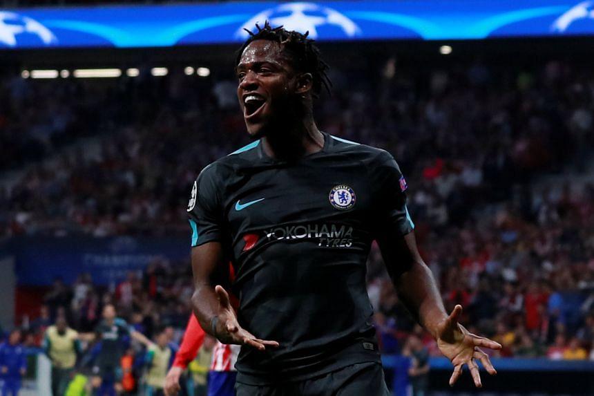Chelsea's Michy Batshuayi celebrates scoring their second goal.