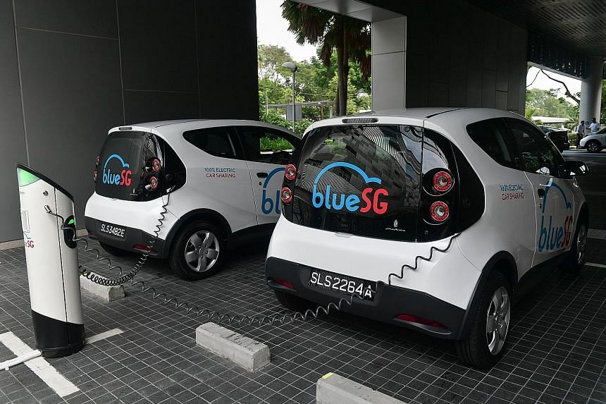 BlueSG, which is building the charging facilities and supplying the electric cars, yesterday opened its Asia-Pacific headquarters in Science Park Drive.