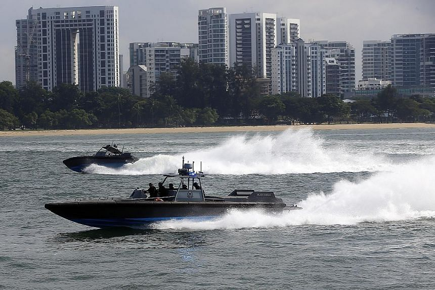 The Singapore Police Coast Guard's (PCG) high-speed interceptors. The new programme to train maritime enforcement officers on combating piracy and armed robbery against ships will include visits to key facilities such as the PCG's Brani base and the