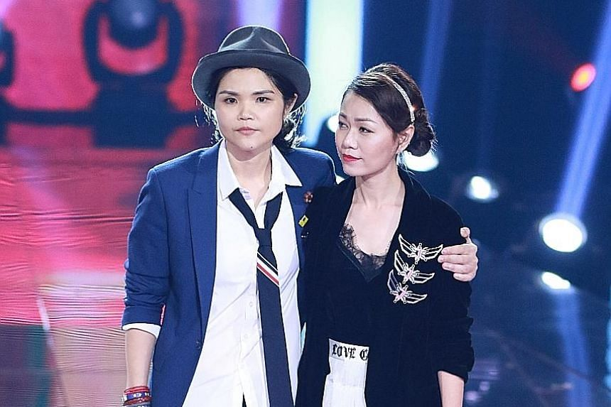 Singers Olinda Cho (far left) and Joanna Dong will compete against each other on Sing! China in tomorrow's episode.
