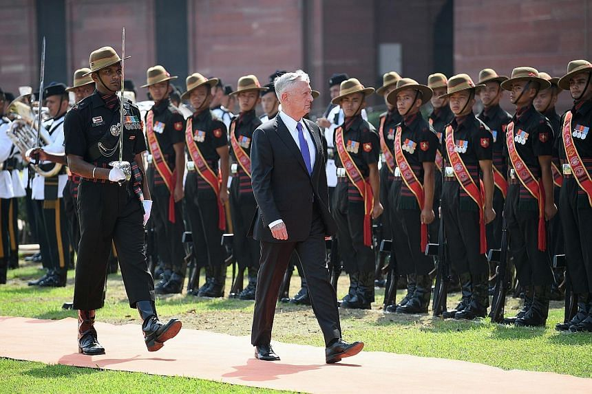 US Defence Secretary James Mattis inspecting an honour guard at the Indian Ministry of Defence prior to meeting his Indian counterpart Nirmala Sitharaman in New Delhi on Tuesday. He is the most senior Cabinet official from the Trump administration to