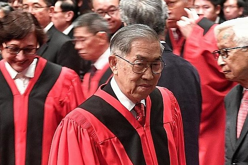 Justice Chao Hick Tin at yesterday's valedictory reference at the Supreme Court Auditorium. Justice Chao, who began his legal career in 1967 in the Attorney-General's Chambers, will retire today on his 75th birthday.