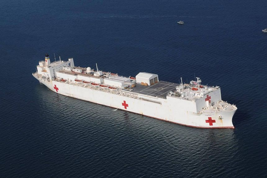 The Military Sealift Command hospital ship USNS Comfort is anchored off the coast of Haiti on Jan 20, 2010.