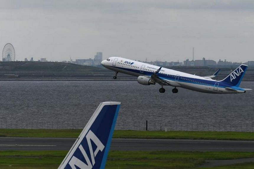An All Nippon Airways (ANA) aircraft takes off from Haneda international airport. The 3kg panel that fell off was used as a cover for the emergency slide and a faulty bottle containing nitrogen gas was to blame.