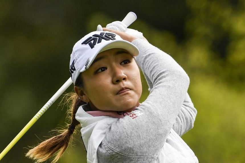 Lydia Ko hitting a shot during the Evian Championship in Evian-les-Bains, France, on Sept 17, 2017.
